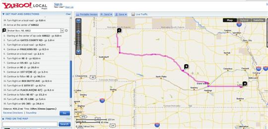 Lincoln to Chadron Map Via Broken Bow - Yahoo Distance Calculation