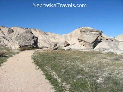 Toadstool Geologic Park Hiking Trail - fallen toadstool rocks - Oglala Grasslands west of Nebraska Sandhills - Midwest US