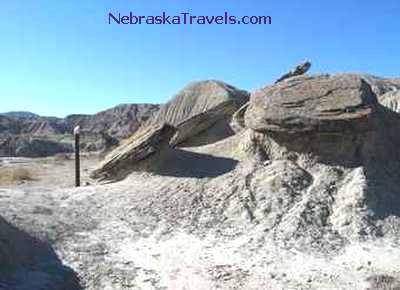 Toadstool Park Hiking Trail - rounded fallen toadstool rocks - Badlands west of Western edge of Nebraska Sandhills
