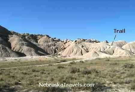 Looking back at end of Toadstool Geologic Park Hiking Trail - Western Nebraska Badlands and Grasslands area