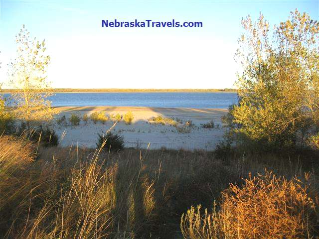 Calamus Reservoir Sand Beach Area + view of the Dam - near Burwell in Nebraska Sandhills