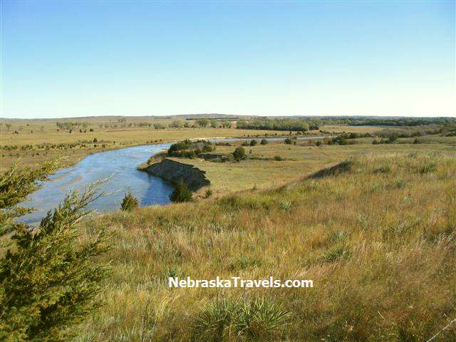 North Loup River winds through the Grasslands in Western Nebraska Sandhills near Brewster, NE