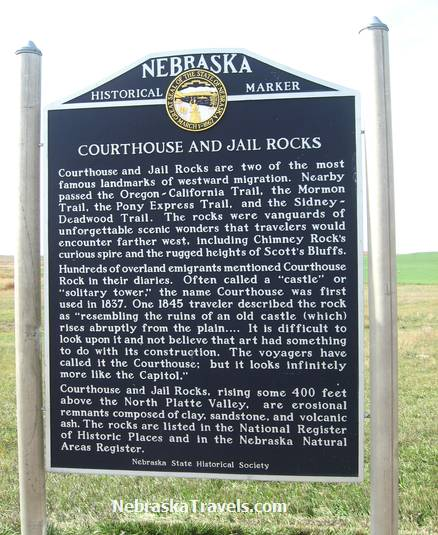 Courthousee and Jailhouse Rock Historical Marker next to Hwy 92 east of Scottsbluff